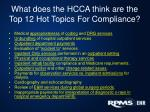 what does the hcca think are the top 12 hot topics for compliance