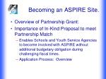 becoming an aspire site