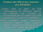 cr ation des sim et leur volution vers resimao1