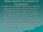 steps towards the creation of the platform