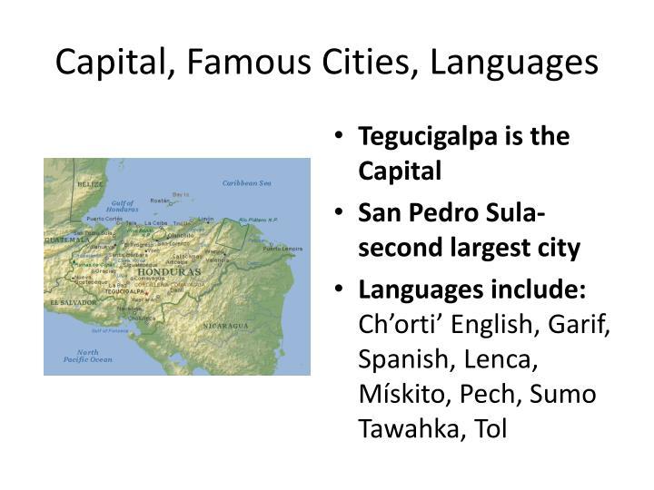 Capital famous cities languages