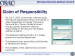 claim of responsibility