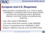 european and u s responses