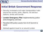 initial british government response