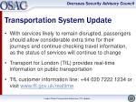transportation system update