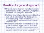 benefits of a general approach