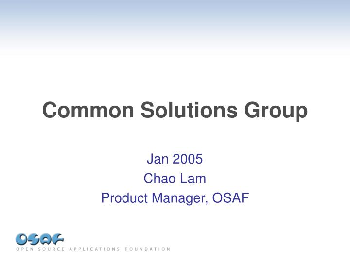 common solutions group n.