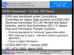 nasa involvement ccsds iso status