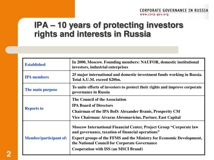 Ipa 10 years of protecting investors rights and interests in russia