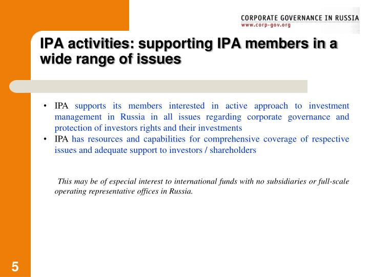IPA activities