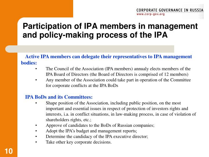 Participation of IPA members in management and policy-making process of the IPA
