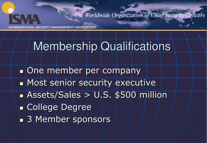 Membership Qualifications