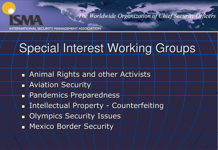 Special Interest Working Groups