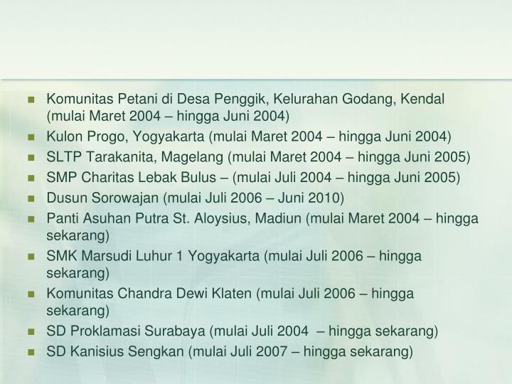 Komunitas Petani di Desa Penggik, Kelurahan Godang, Kendal (mulai Maret 2004 – hingga Juni 2004)