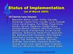 status of implementation as of march 2009