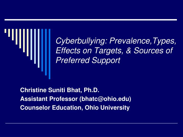 cyberbullying prevalence types effects on targets sources of preferred support n.