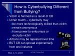 how is cyberbullying different from bullying1