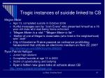tragic instances of suicide linked to cb
