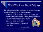 what we know about bullying