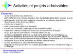 activit s et projets admissibles