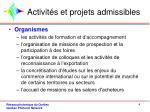 activit s et projets admissibles1