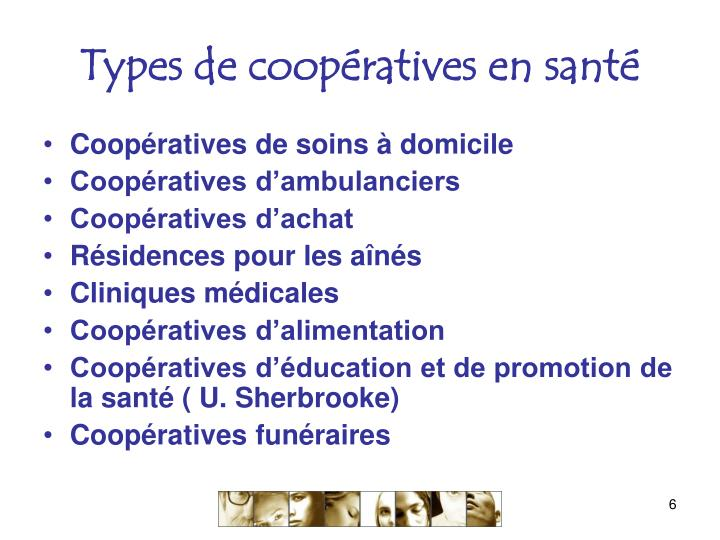 Types de coopératives en santé