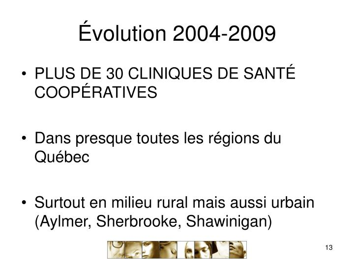 Évolution 2004-2009