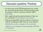 discussion questions practices