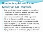 how to keep more of your money on car insurance1