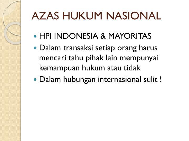 AZAS HUKUM NASIONAL