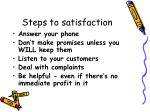 steps to satisfaction