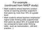 for example continued from naep study