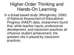 higher order thinking and hands on learning