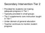 secondary intervention tier 2