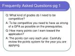 frequently asked questions pg 1