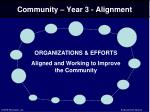 community year 3 alignment