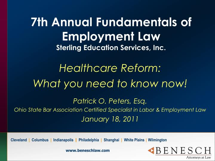 7th annual fundamentals of employment law sterling education services inc n.