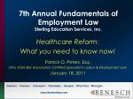 7th annual fundamentals of employment law sterling education services inc
