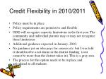credit flexibility in 2010 2011