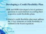 developing a credit flexibility plan