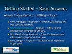 getting started basic answers3