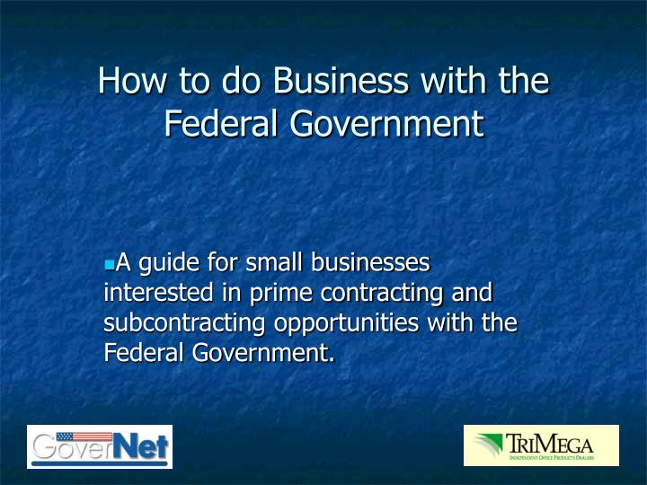 how to do business with the federal government n.