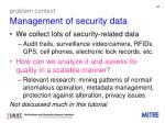 problem context management of security data
