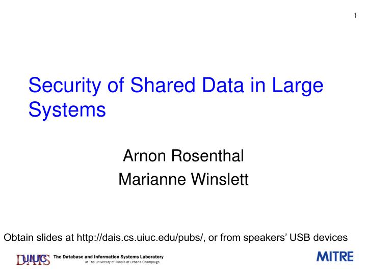 security of shared data in large systems n.