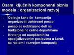 osam klju ni h komponenti biznis m odel a organizacioni razvoj
