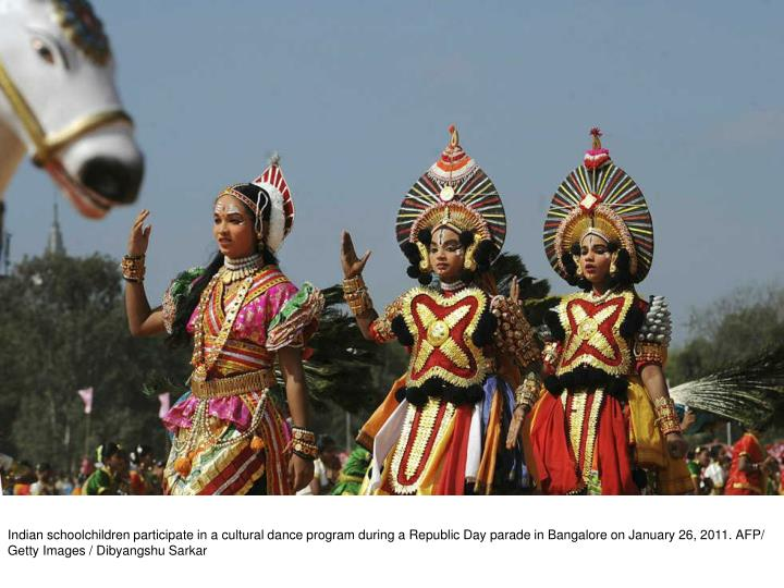 Indian schoolchildren participate in a cultural dance program during a Republic Day parade in Bangalore on January 26, 2011. AFP/ Getty Images / Dibyangshu Sarkar
