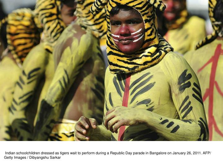 Indian schoolchildren dressed as tigers wait to perform during a Republic Day parade in Bangalore on January 26, 2011. AFP/ Getty Images / Dibyangshu Sarkar
