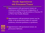 faculty appointments with permanent tenure