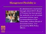 management flexibility is