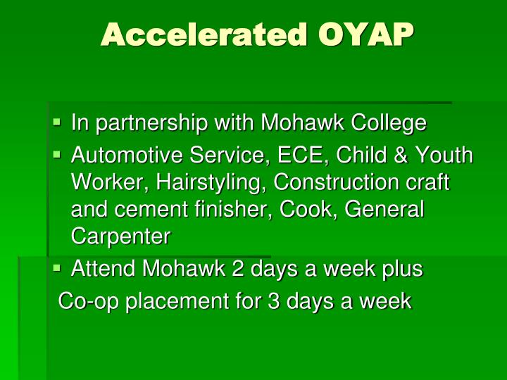 Accelerated OYAP